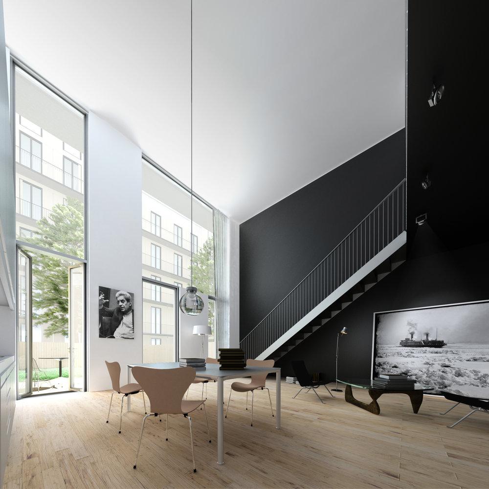 Vue d'un logement en rez-de-chaussée