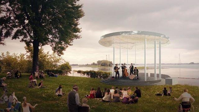 Projet de scène que j'aiconçu à Pointe-aux-Trembles avec Latéral en ingénierie structure. Un toit supporté par 8 colonnes minces, comme à Trois-Rivières! #scene #stage #montreal #belvedere #architecture