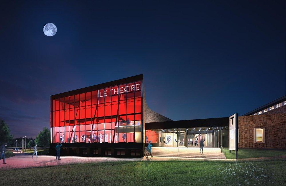 La nouvelle façade lumineuse ouvre l'ancienne façade sur l'extérieur