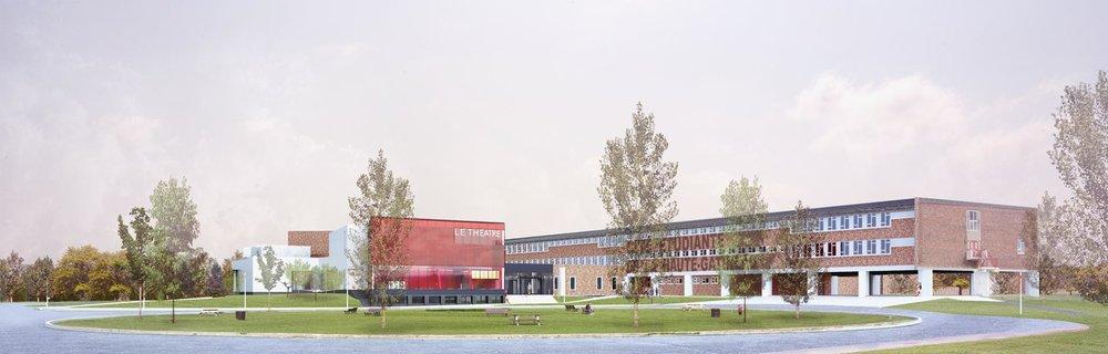 Vue de la nouvelle salle de spectacle avec la cité étudiante