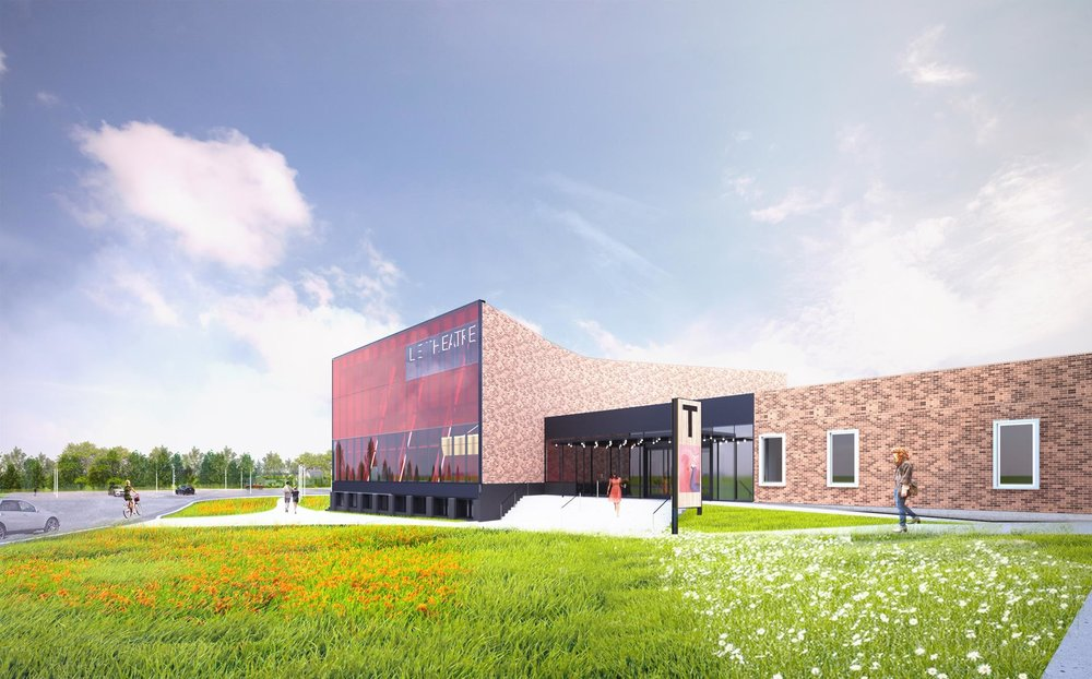 L'intégration de la nouvelle entrée noire et la façade vitrée rouge avec les murs de brique existants de la cité étudiante