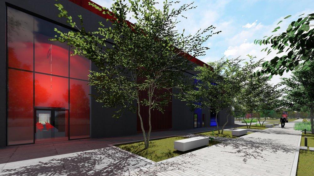 La salle rouge visible de la façade
