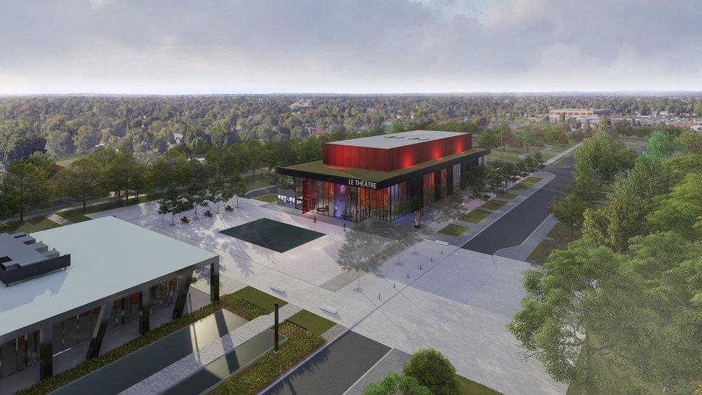 Vue du nouveau Théâtre, de la place publique et du Centre d'art