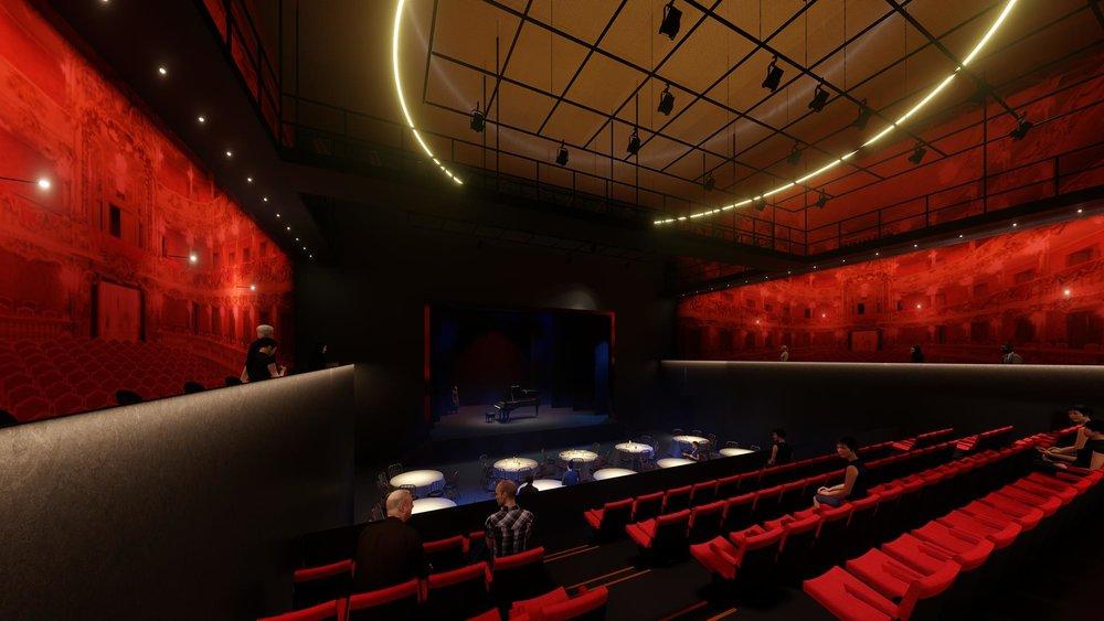 Vue de la salle, configuration cabaret