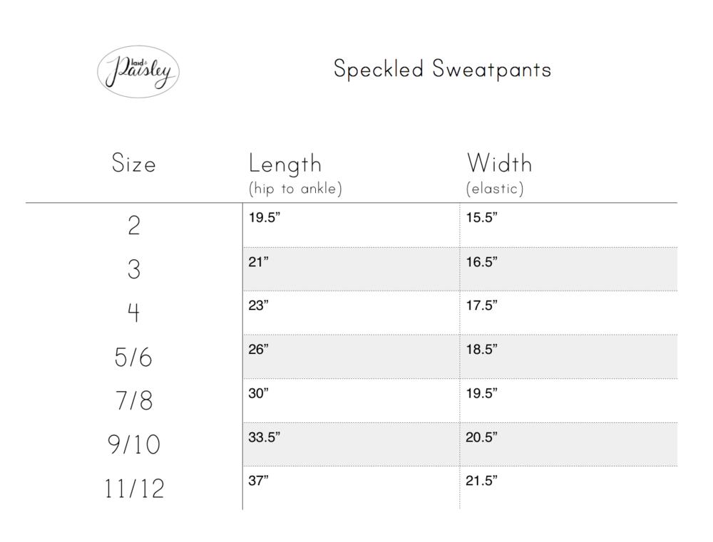 Plaid & Paisley Littles Sweatpants size chart