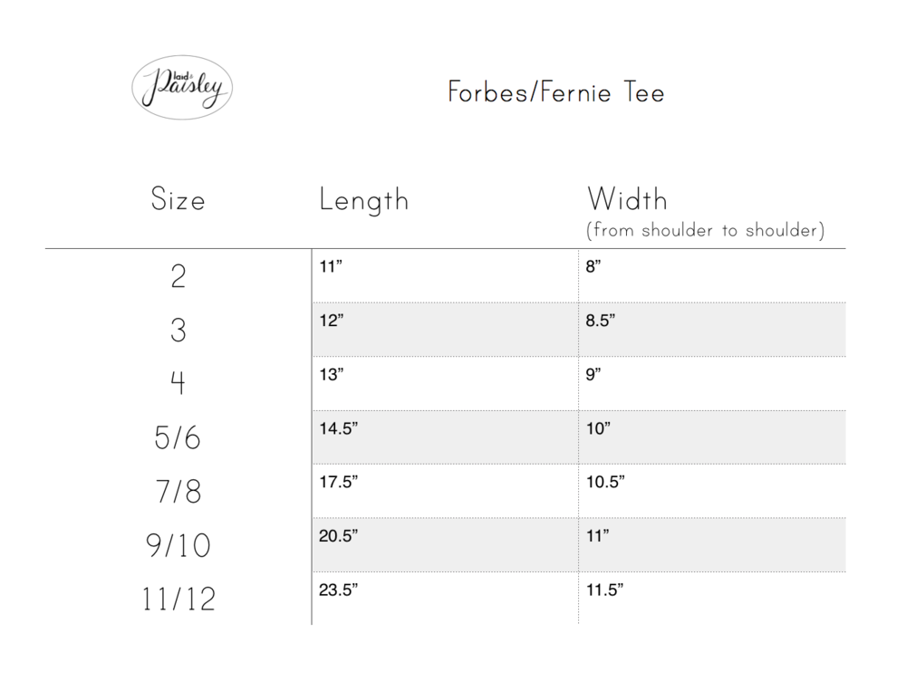 Plaid & Paisley Littles Tees size chart