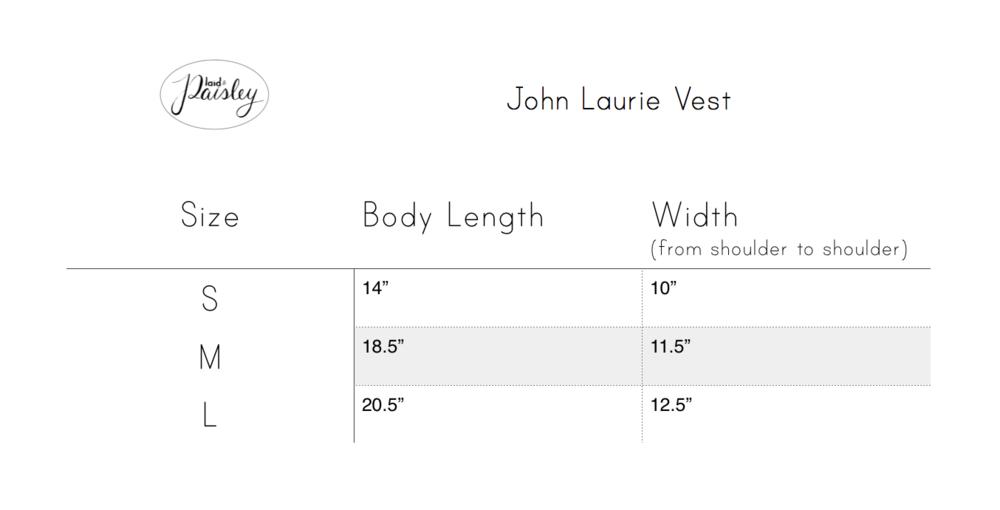 Plaid & Paisley Littles Vests size chart
