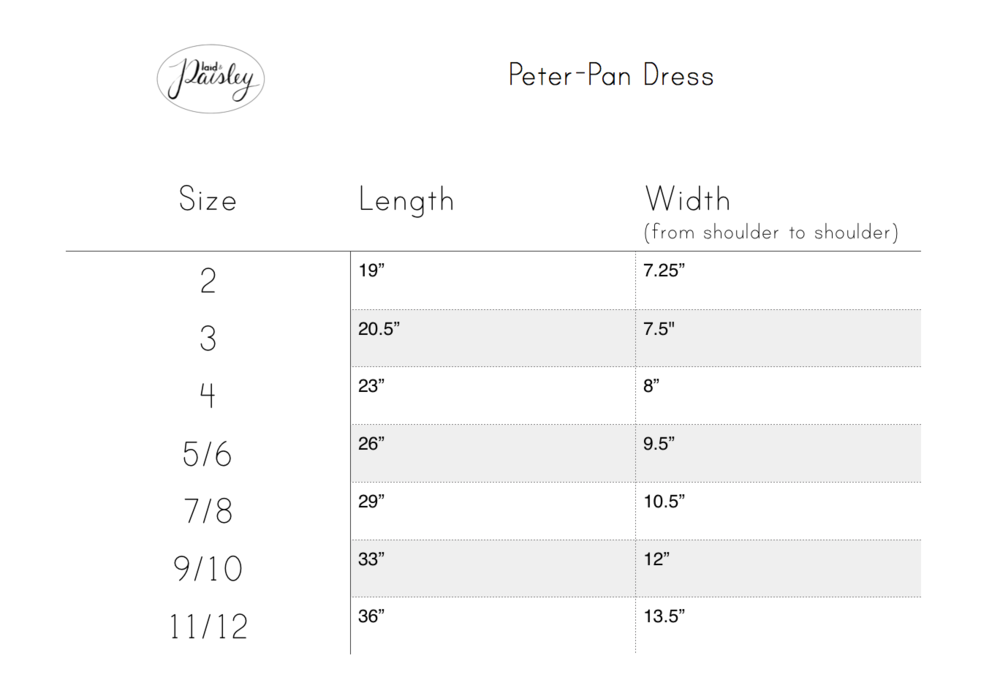 Plaid & Paisley Littles peter-pan size chart
