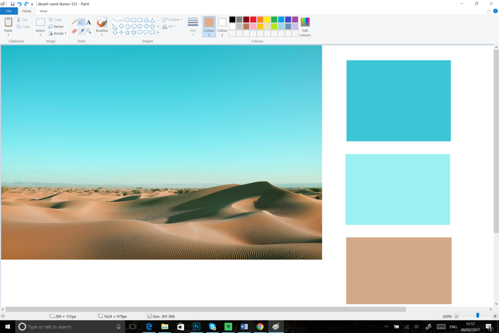 Open your image using Paint or Photoshop. Use the color-picker tool to begin to pick the most prominent colours. Choose the colours which resonate most deeply and begin to create your colour board.