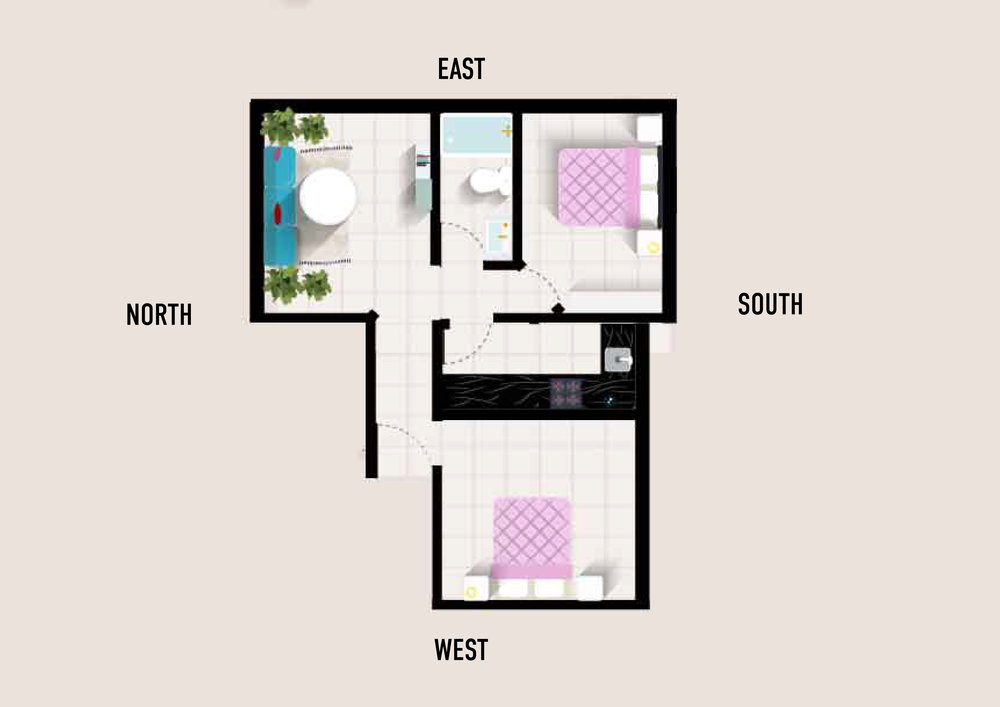 This small city appartment is facing West as indicated above. The two below floorplans indicate how the bagua map would be applied using either of the two methods.