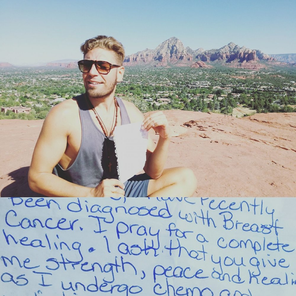 2017 One of the most powerful Earth Oneness Ceremonies was held amidst the powerful vortexes of Sedona. In a most interesting twist, a letter was found just as we were beginning our ceremony, from a woman who had just been diagnosed with Breast Cancer and who was asking for support during these difficult times.