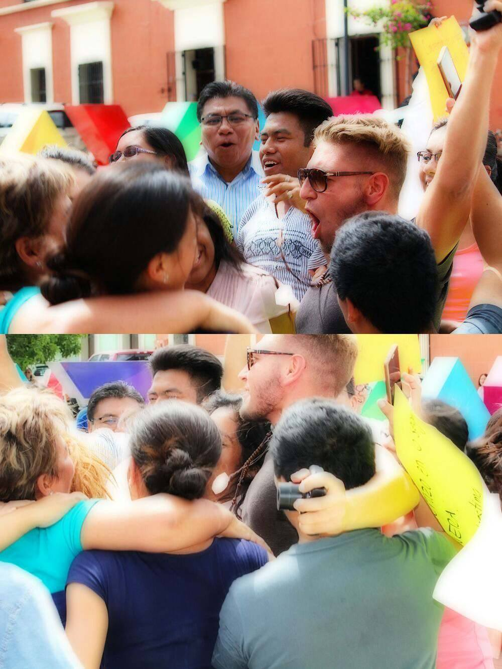 2017 A moment of spontaneous oneness in the lead-up to the Earth Oneness Ceremony in Oaxaca Mexico. A massive group hug on the streets of this colourful city.