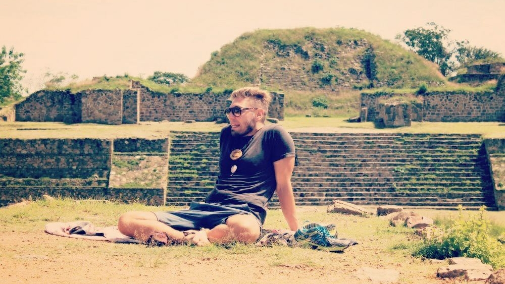 Relaxing at the site of one of the most meaningful ceremonies: Monte Alban Aztec Temple in Mexico.