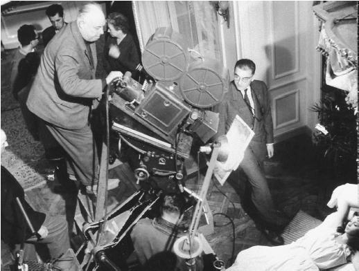 Jean Renoir on the set of  French Cancan.  filmreference.com