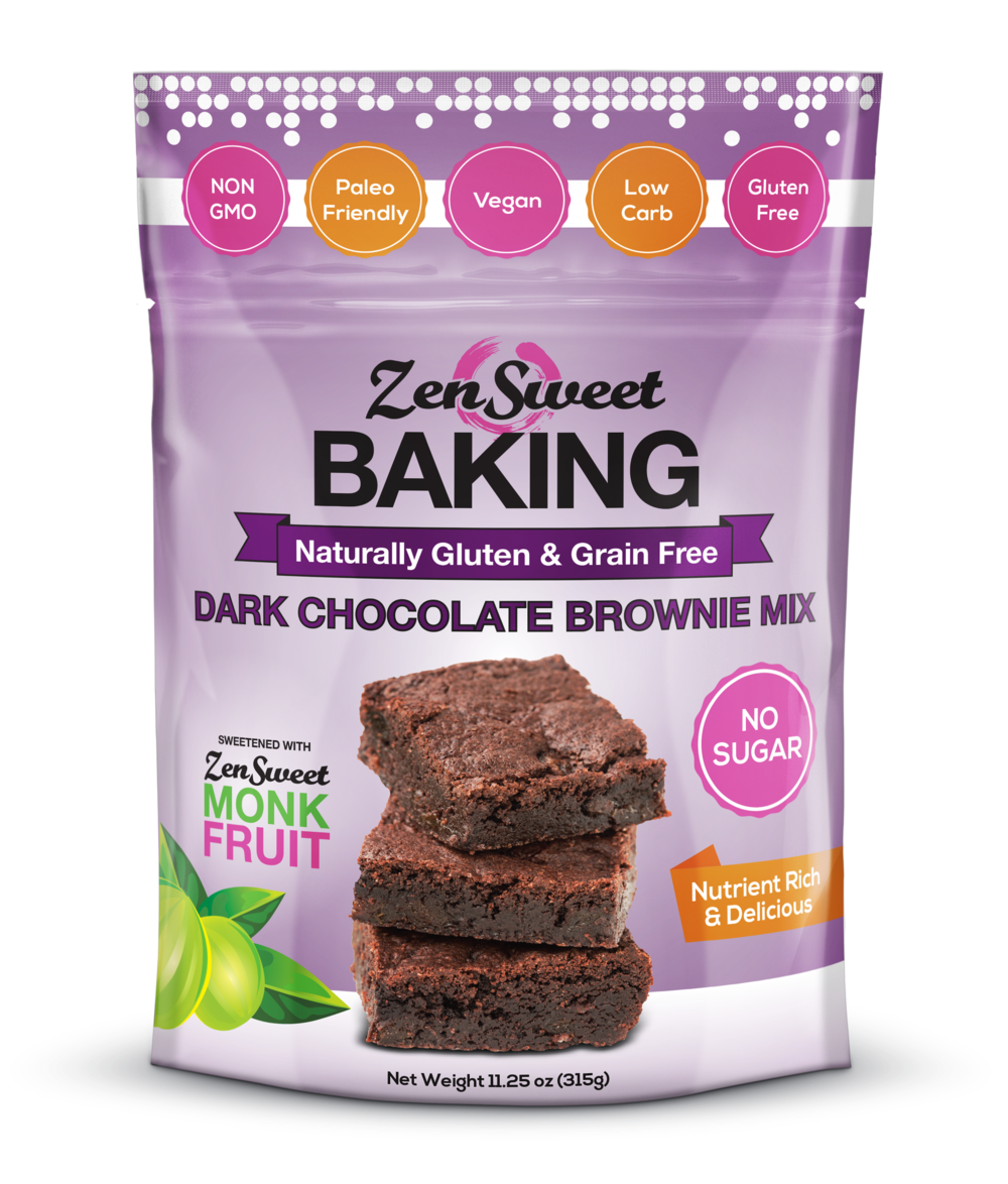 Dark Chocolate Brownie Mix - Fudgy, dark chocolate brownies are where it's at. ZenSweet Baking contains the highest quality ingredients and you can taste the difference. We tested over 30 types of cocoa until we found just the right one. Simply add unsweetened yogurt (non-dairy yogurt to keep it Vegan) and that's it. When is the last time you enjoyed some real dark chocolate brownie batter? Try to resist, we dare you! Each bag makes an 8x8 pan or 12 cupcakes.