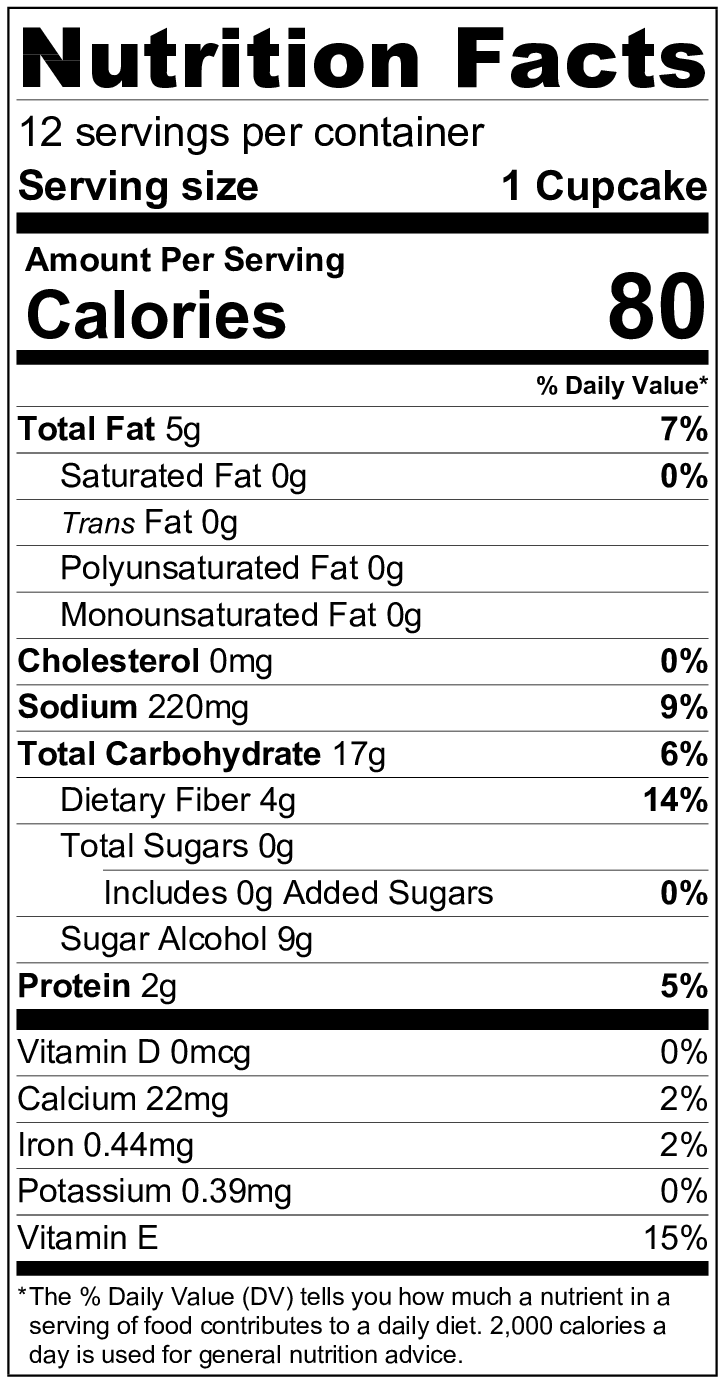 Ingredients: ZenSweet (Erythritol, Inulin, Monk Fruit Extract), Almond Flour, Tapioca Flour, Coconut Flour, Baking Soda, Vanilla Bean, Sea Salt -