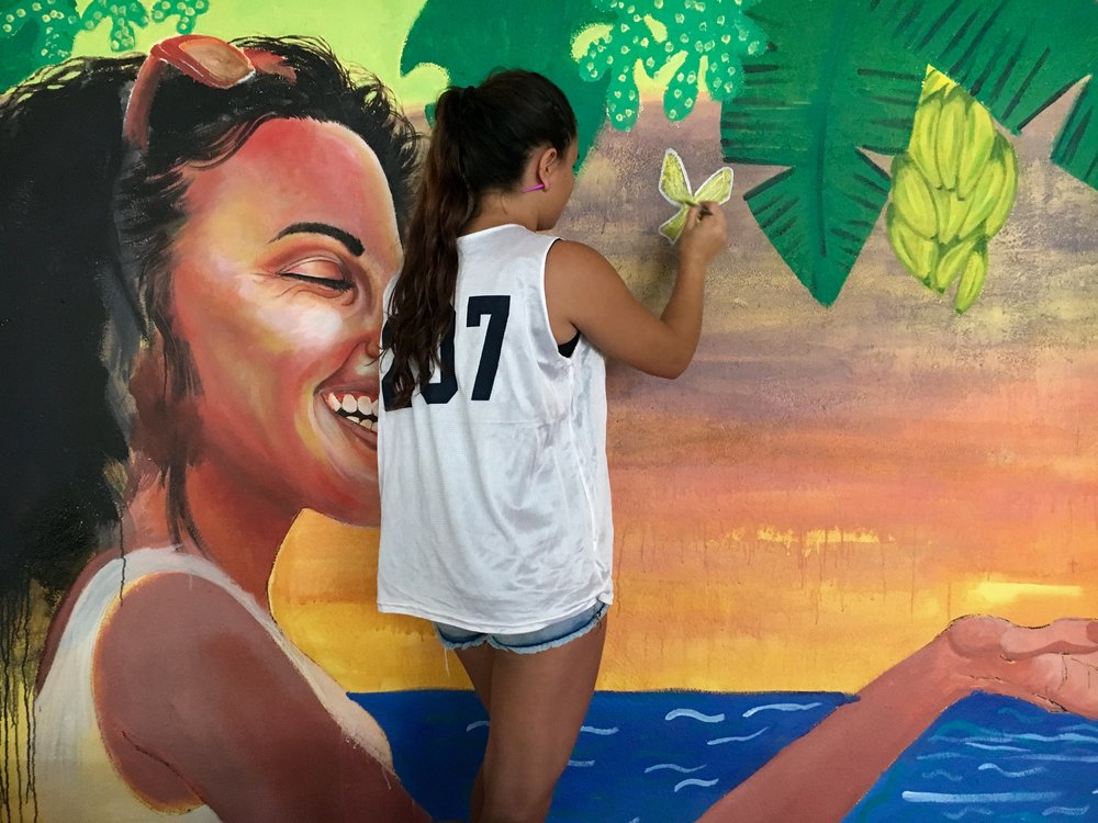 Painting with Associacion CREAR's girls empowerment club