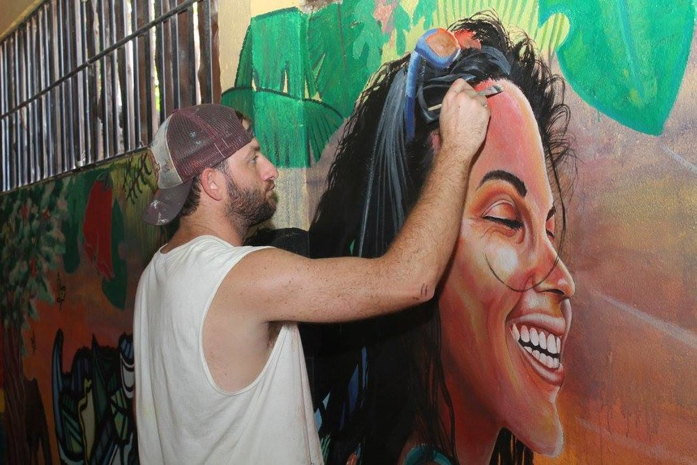 Artist Curtis Glover at work