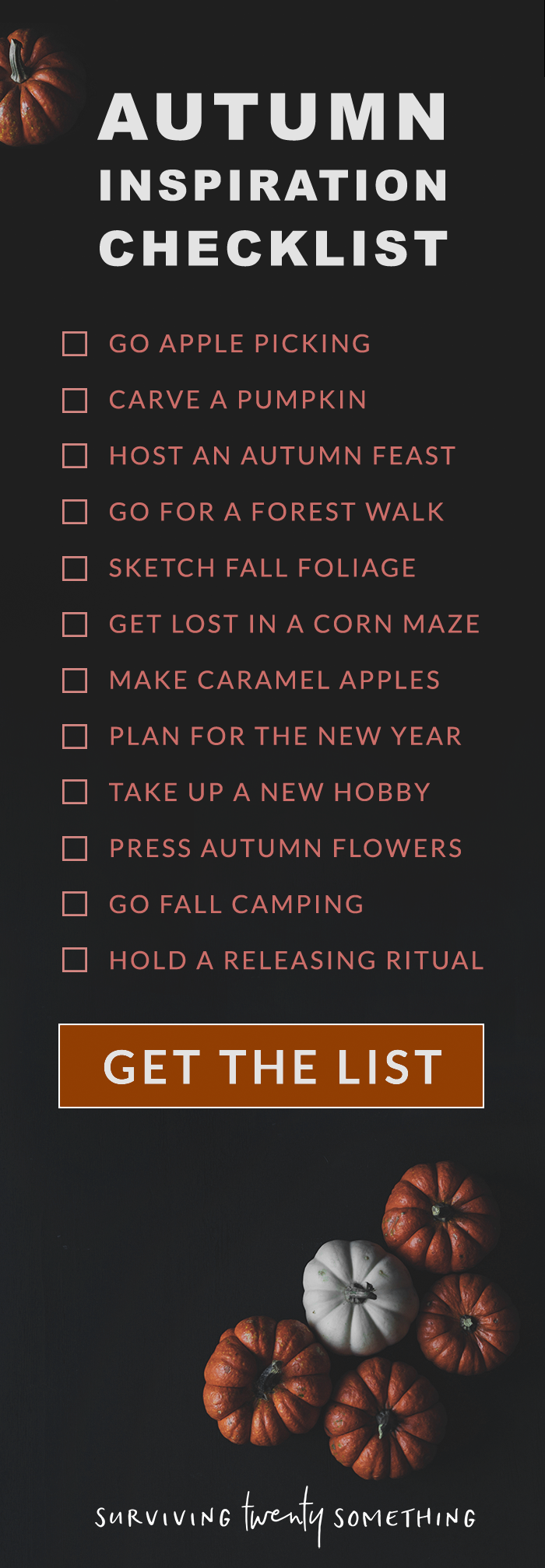 Autumn Inspiration Checklist // Autumn isn't just a season, it's a way of life. Get into that autumn spirit with some of my favourite things to do (or, if you're feeling competitve, do them all!)