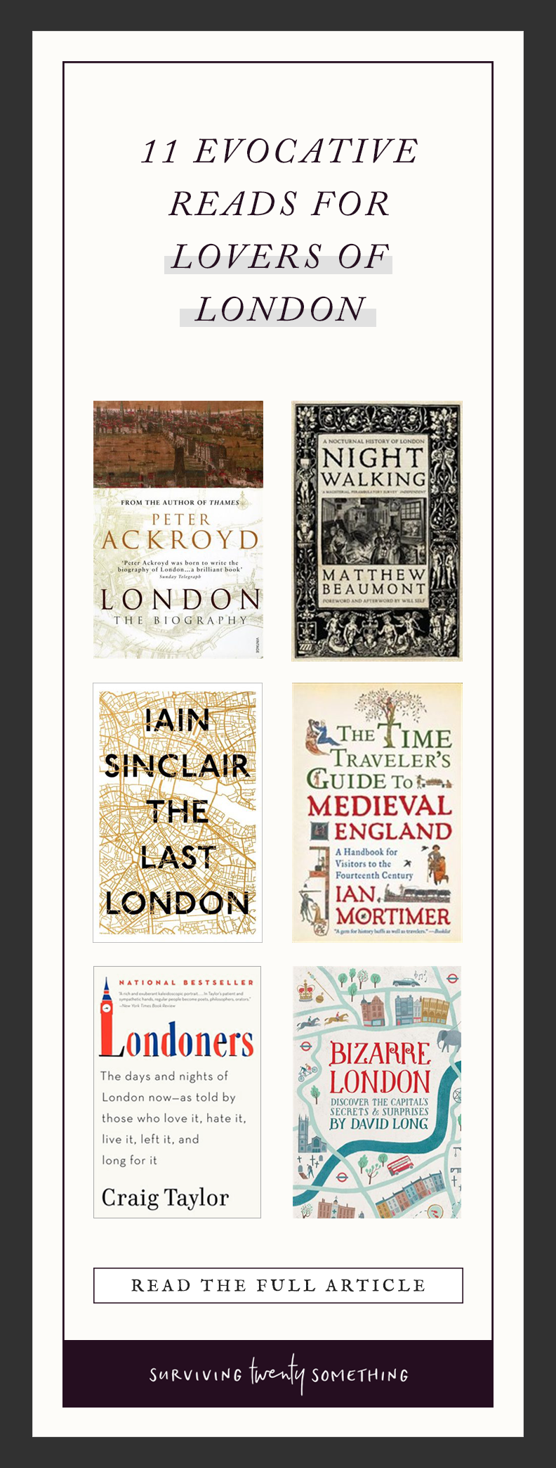 11 EVOCATIVE READS FOR LOVERS OF LONDON // We can't all live in London; sometimes, we can't visit London, either. The next best thing? Books about London, of course.