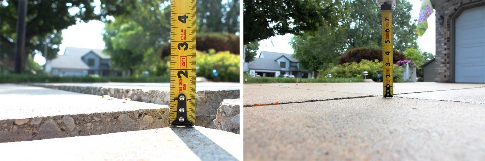 Images before and after of uneven concrete and even concrete through poly foam lifting by Save the Pave Omaha