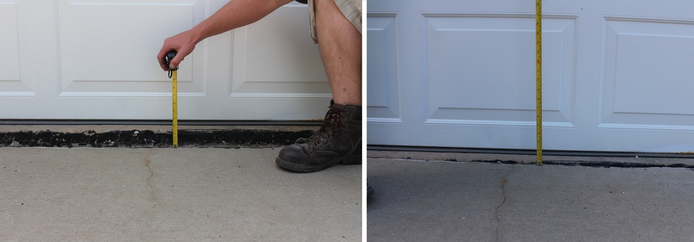 A Driveway that has sunk more than a few inches before poly-lifting VERSUS a driveway that has been Lifted.