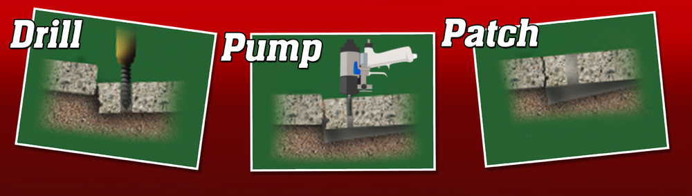 Concrete lifitng is as easy as 1. drilling, 2. pumping a poly-foam, and 3. patching the hole.