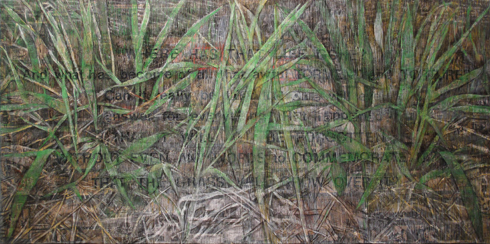 2aa(0)--Will the Grass Grow Over It, oil, pigmented wax,print media  collage on linen, 48x96,  2013.jpg