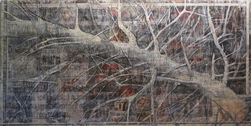 2ab(0)-And Europe Was Silent - oil,chalks, print media collage on distressed  canvas, 48x96 in. 2015.jpg