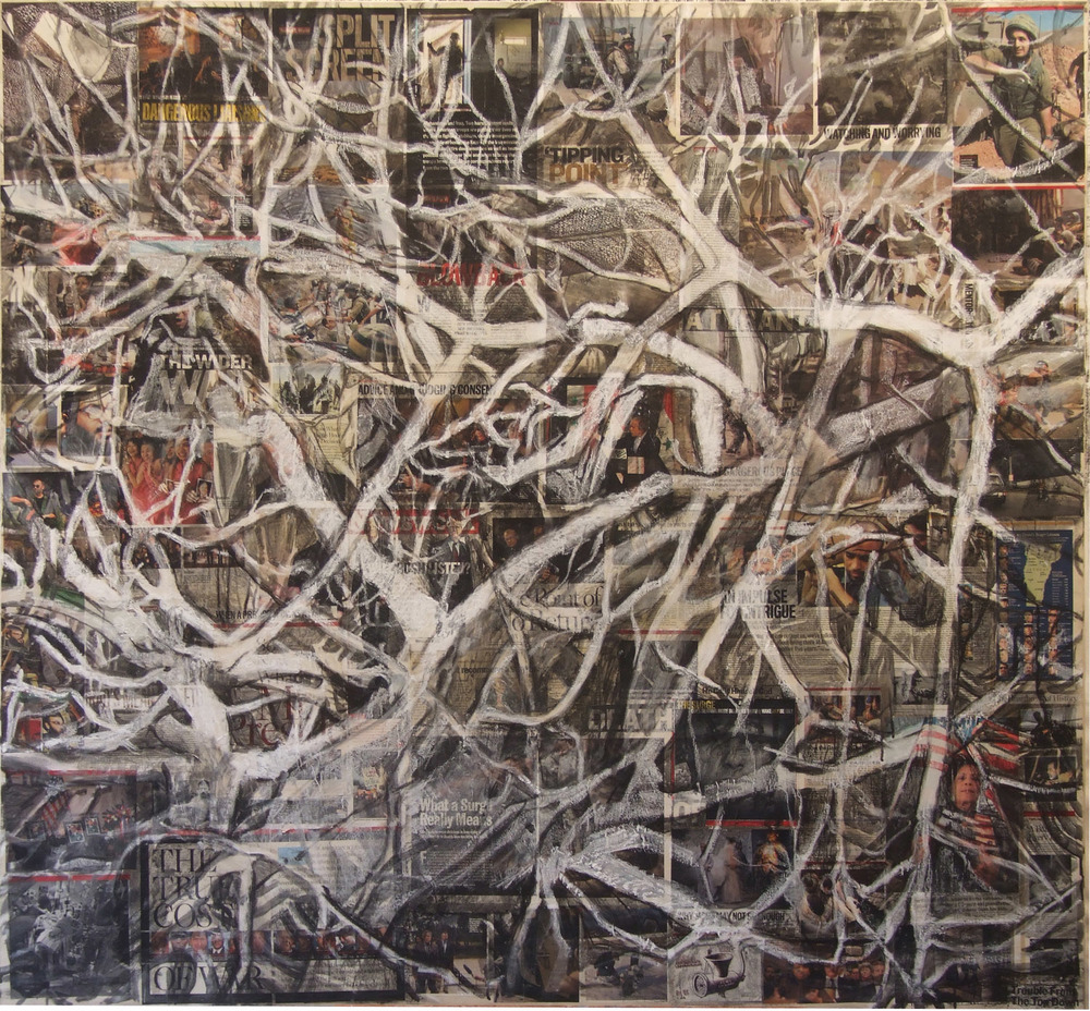 2aj(0)-Tangles-acrylic, conte, print media collage on canvas, 60x55 in., 2006.jpg