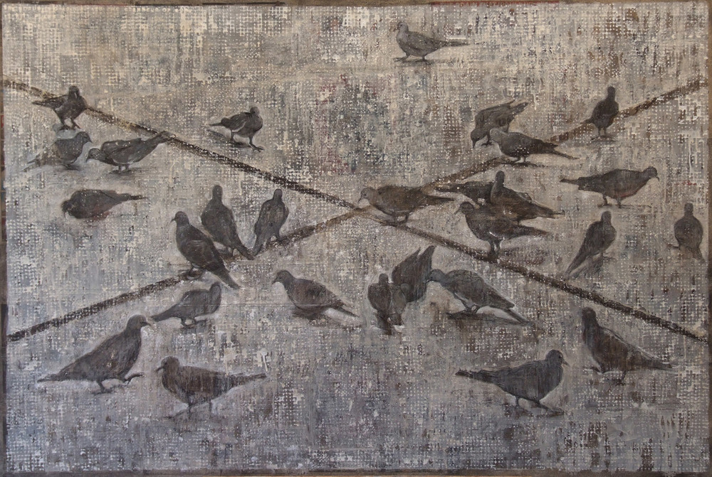 2an(0)-For the Birds-oil, wax, gesso, print media collage on canvas, 41x61, 2009.jpg