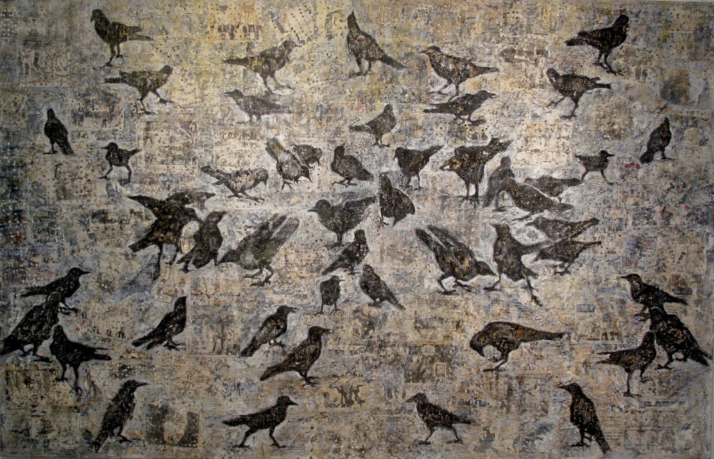 2ao(0) Feeding Frenzy-oil, wax, print media collage on canvas 47x74, 2005, 2010.jpg