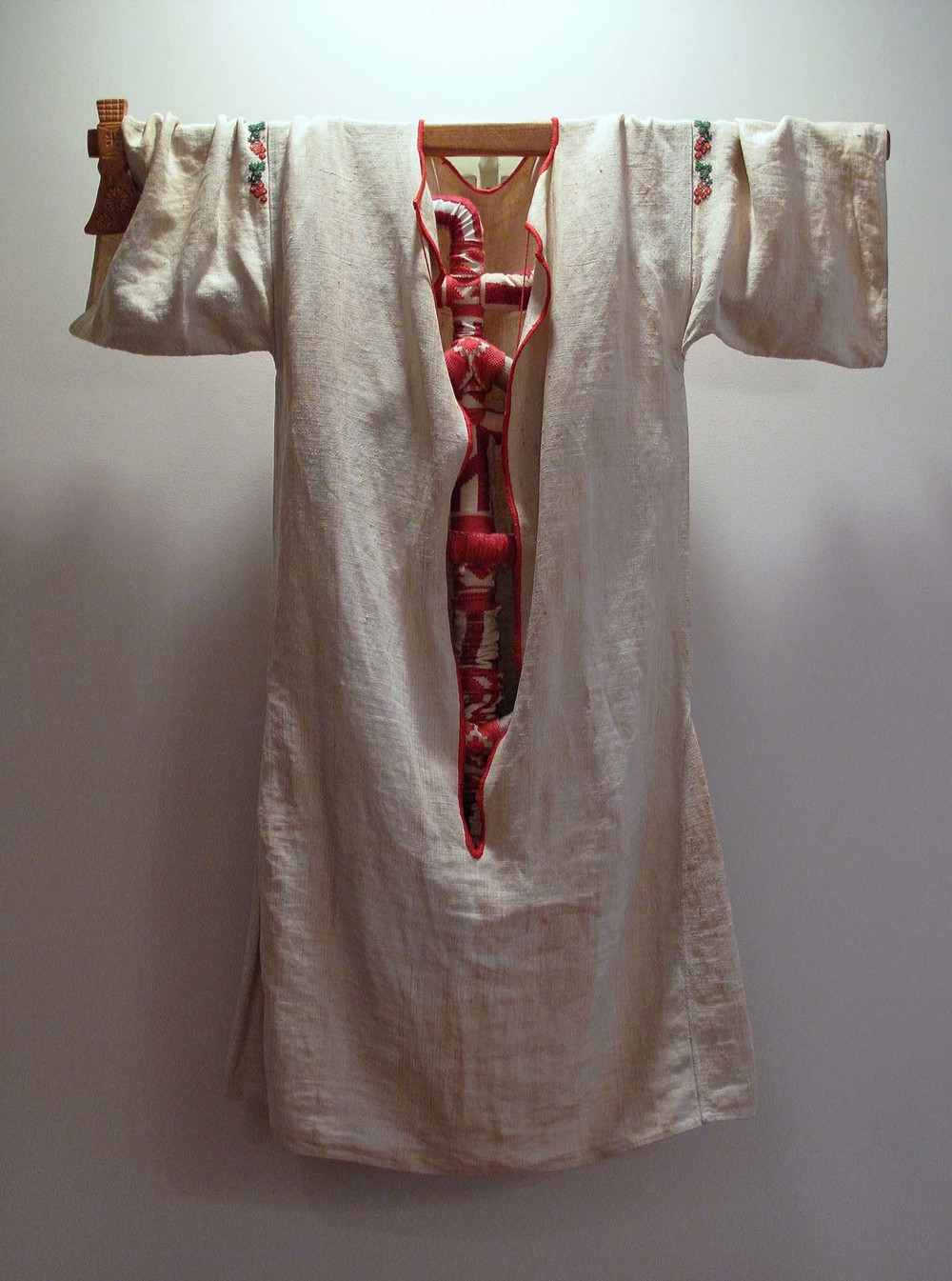 2bf(0) - What Sits In My Guts, embroidered sewn linen, letters, molded tubing, metal rod, wood, 40x32x7 in., 2008-9.jpg