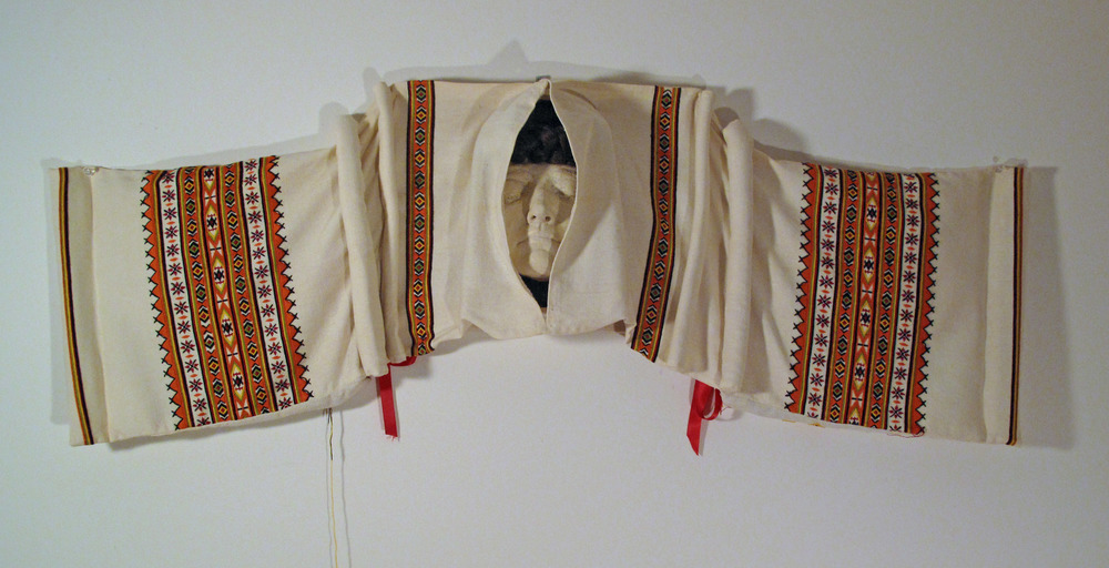 2bg(0) - The Guardian, clay, embroidery, braided hair, letters, wood - open -  22x42x6 in. 1993-1998.jpg