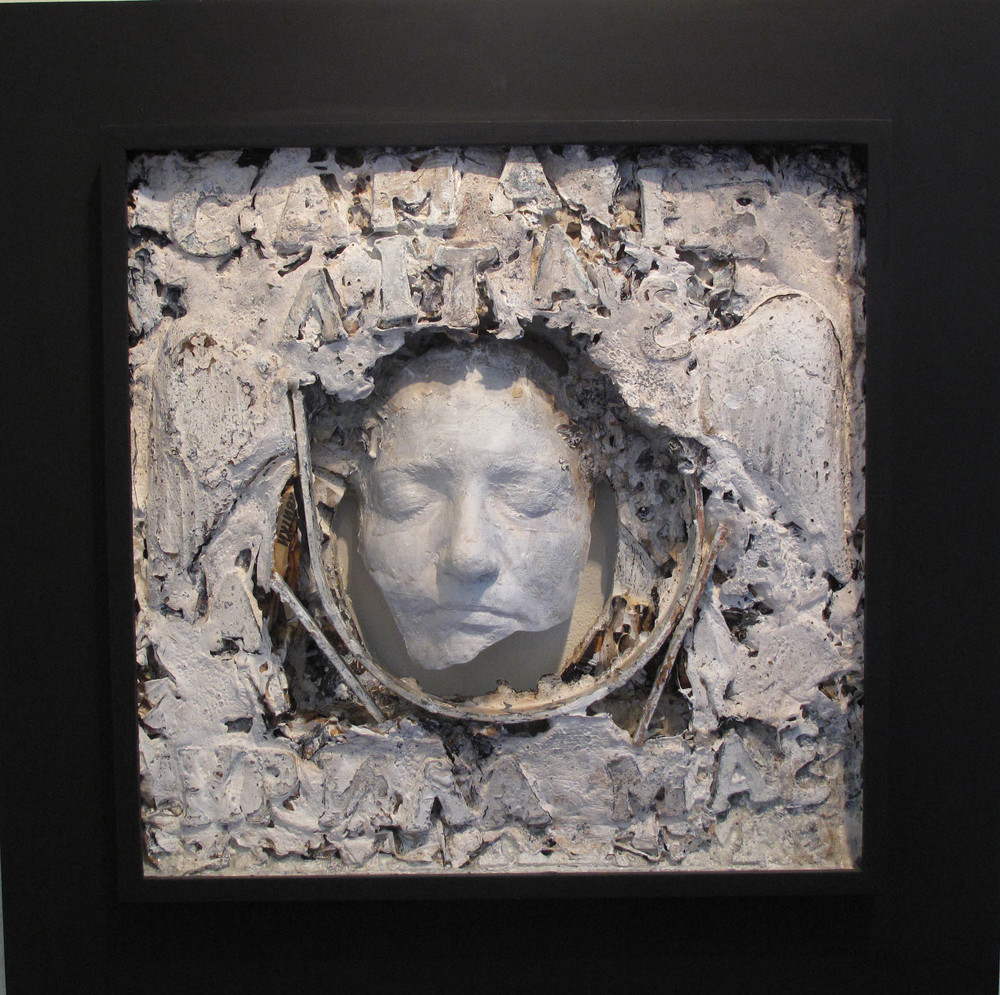 2bi(0) - Winged, clay, gesso, plaster, paper, wood, 22x22x5, 2001.jpg