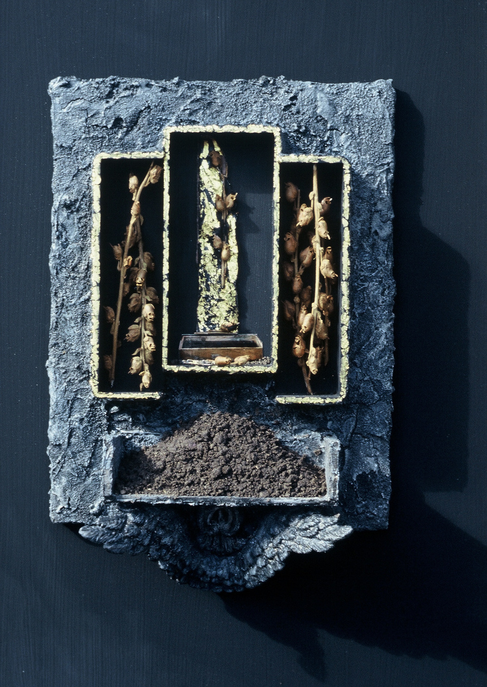 2bj(0) - Earth - paints, gold leaf, plants, soil, wood - 21x15.5x5 in = 1992.jpg