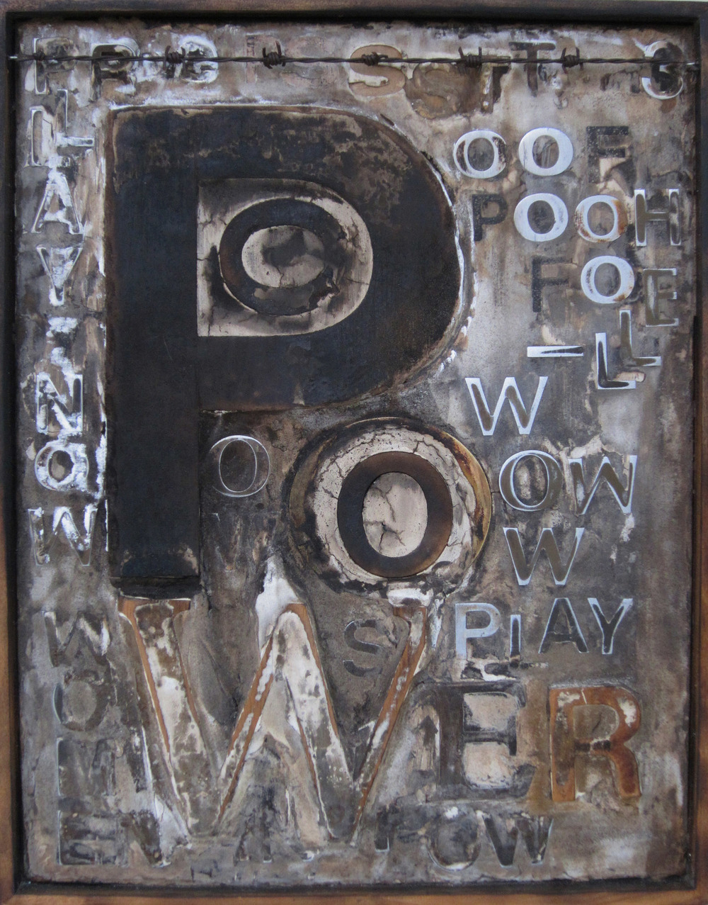 2bl(0) - POWer-limestone polymer, resins, torched wood, 23x18 in. 2006.jpg