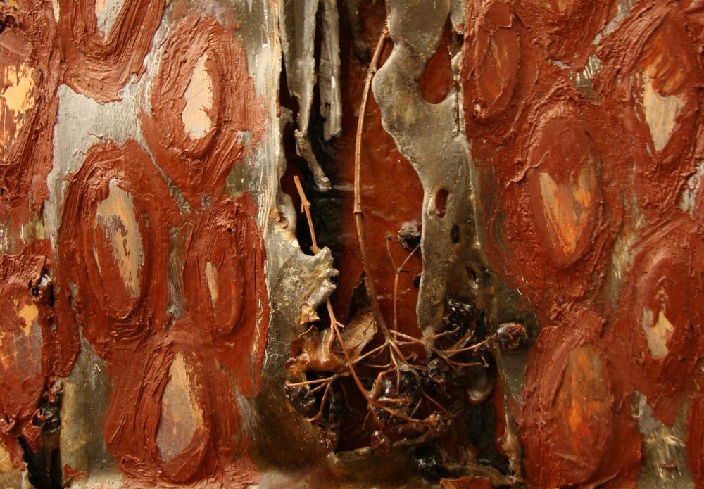 2bp(1)-Detail 2 of Rains - torched lead, guelder rose, resins, oil paint on wood - 1997 - 1998.jpg