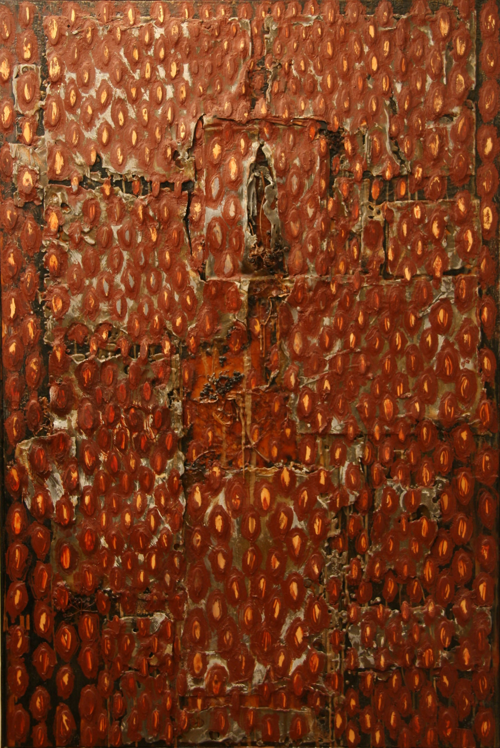 2bp(0)-Rains - lead,  plants, resins, oil on  torched wood -  60x41x6 in - 1997-1998.jpg
