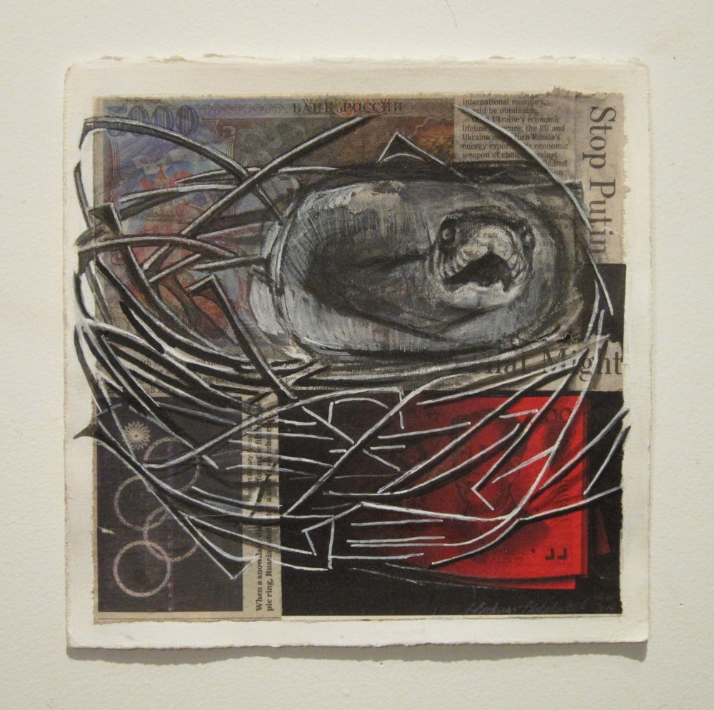 2ce(0) - The Snake, collage ,inks,charcoal 9x9 in 2014 -1.jpg