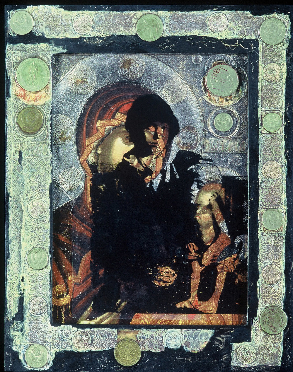 5ac(0) - Another Kind of Icon #2, oil, ruble coins, photocopy, wood, 13x10 in., 1995.jpg