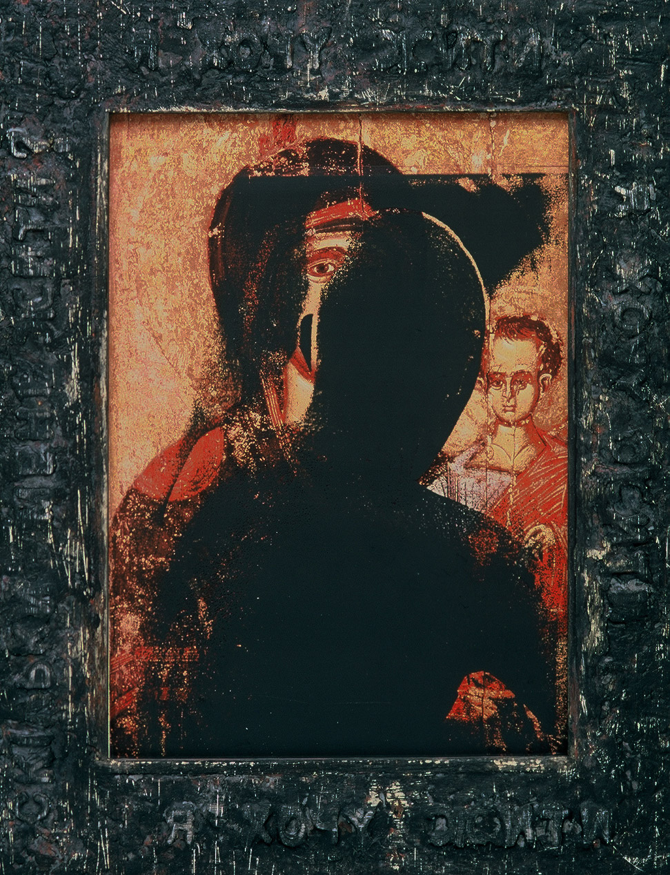 5ag(0) - Another Kind of Icon #12, wax, oil, photocopy, charred wood, 13x10 in. ,1997.jpg
