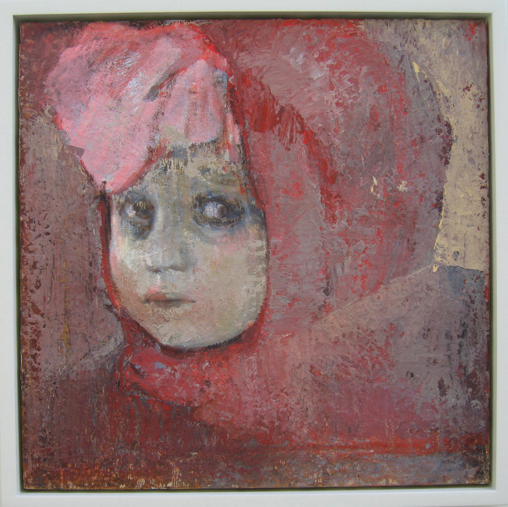 5ba(0) - Gift-Wrapped (Red Hood - oil, resins, wax, on canvas,wood - 22x22 in. 2004).jpg