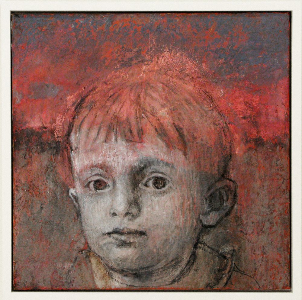 5bc(0) - Guardian Child, oil, charcoal on charred wood, 22x22 in. 2005.jpg