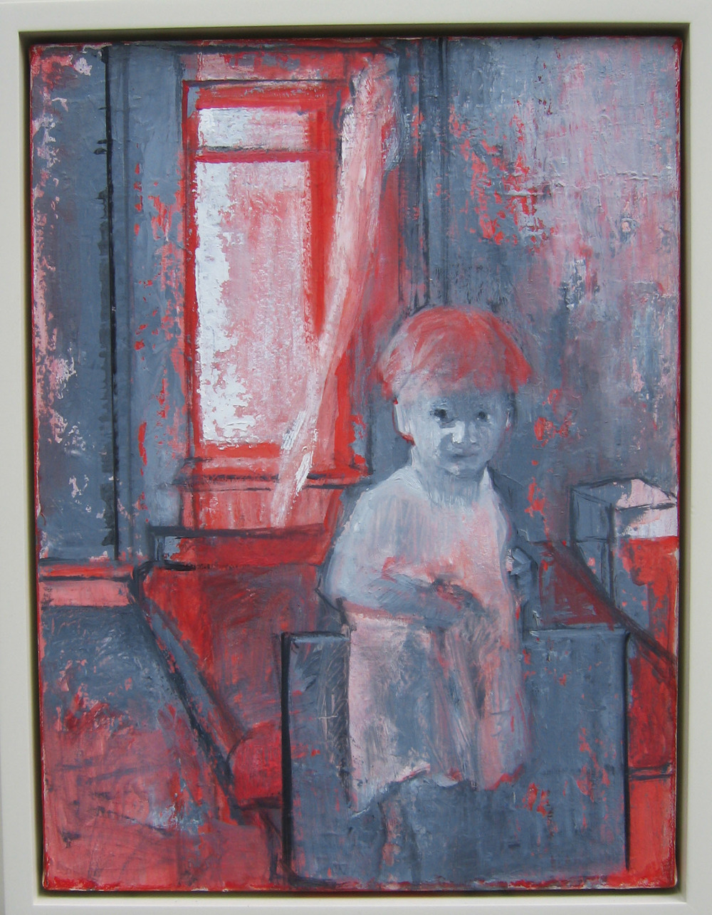 5bf(0)- Hesitation, oil, wax on canvas, wood, 23x19 in. 2005.jpg
