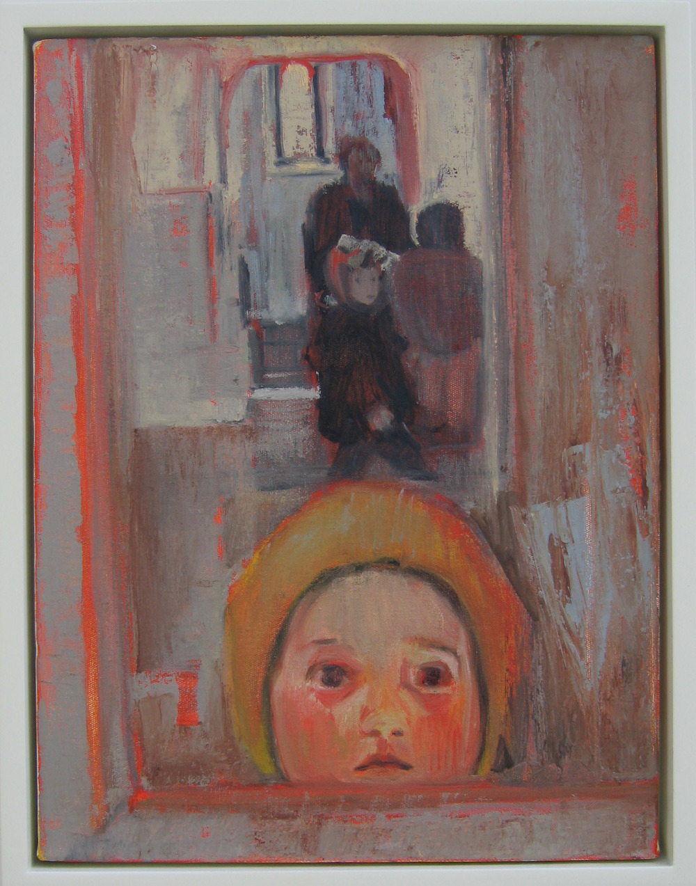 5bg(0) - The Visit, oil,wax on canvas,wood, 23x19 in. 2004.jpg