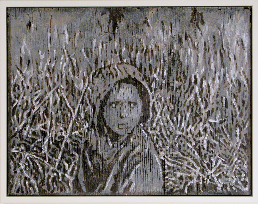 5bl(0) -The Hiding and Seeking, oil, resins on charred wood, 16x22 in. 2009.jpg