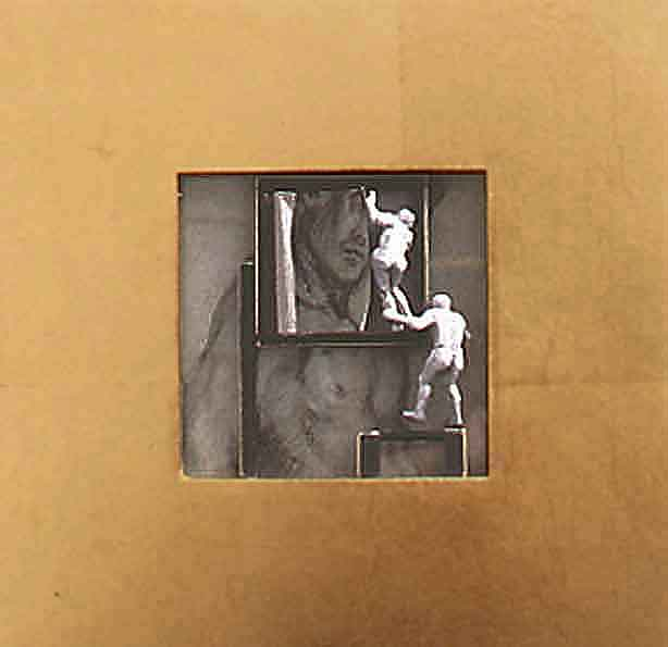 5cd(0) - Face-Off, gold leaf, charcoal on paper, plaster, gesso, wood - 8x8 in. - 2002.jpg