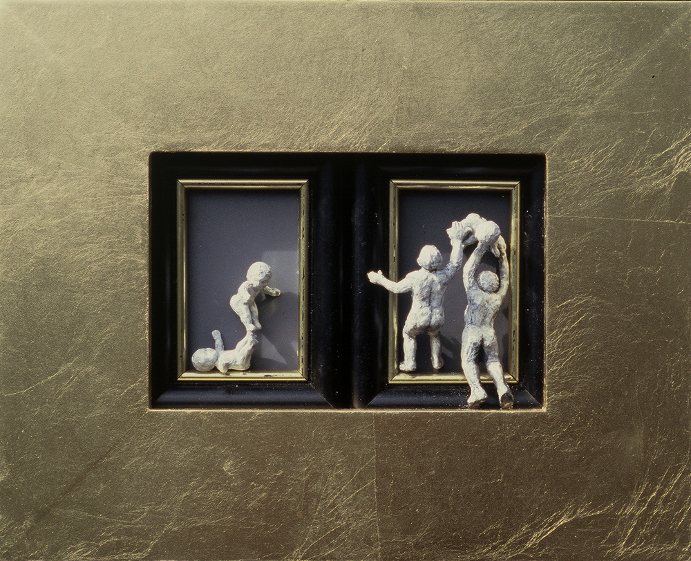5ce(0) - Not-So-Still Lives, gold leaf, plaster, gesso, wood, 8x10 in., 2002.jpg