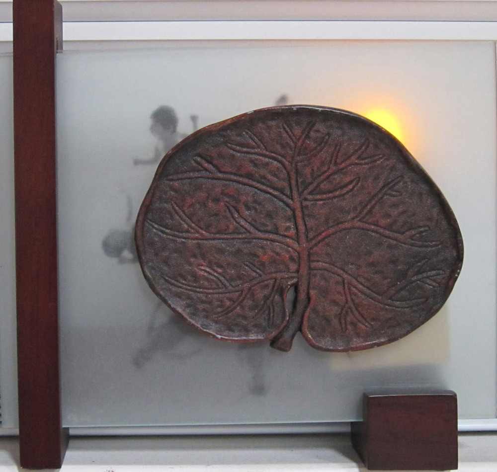 5cl(0) -Burning Bush- glass, clay, light, wood, 8x9x3 in., 2010.jpg